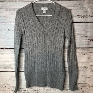 Ann Taylor Loft Gray V Neck Sweater